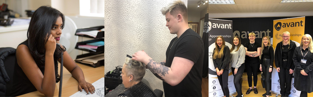 Apprenticeship Slider for Grimsby and Hull with Hairdressing, Business Administration and Customer Service